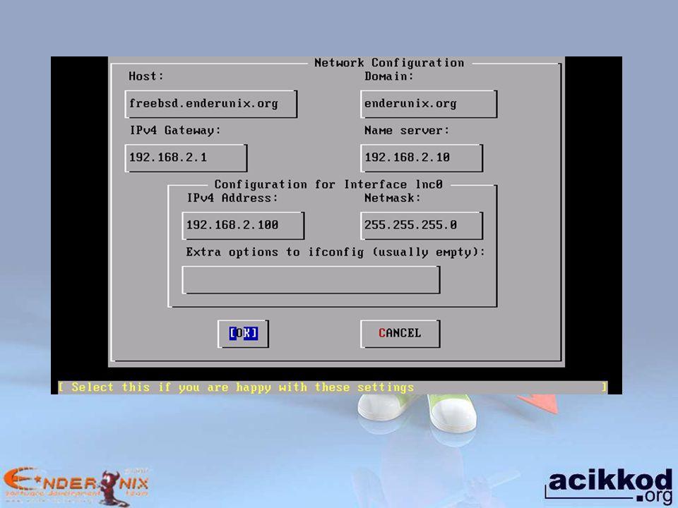 Static Routing Örneğin, 192.168.10.0/24 ağına giden paketleri 192.168.2.240 IP adresin -bu yönlendirmenin adı ag1 olsun- ve 172.16.1.0/24 ağına giden paketleri 192.168.2.250 IP adresine yönlendirmek -adı ag2 olsun- için /etc/rc.conf dosyası aşağıdaki satırlar eklenir.