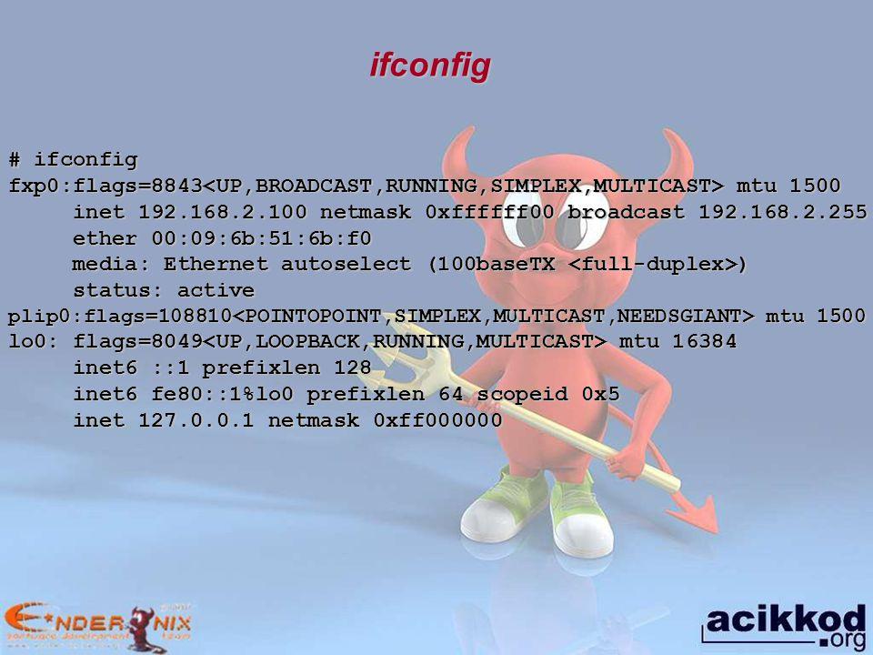 # ifconfig fxp0 fxp0: flags=8843 mtu 1500 inet 192.168.2.100 netmask 0xffffff00 broadcast 192.168.2.255 inet 192.168.2.100 netmask 0xffffff00 broadcast 192.168.2.255 ether 00:09:6b:51:6b:f0 ether 00:09:6b:51:6b:f0 media: Ethernet autoselect (100baseTX ) media: Ethernet autoselect (100baseTX ) status: active status: active