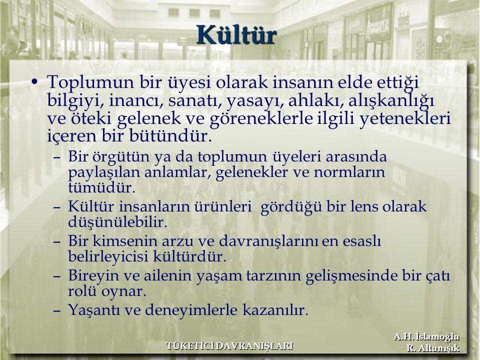 A.H.İslamoğlu R. Altunışık TÜKETİCİ DAVRANIŞLARI Kültürün Özellikleri Kültür oluşturulur.
