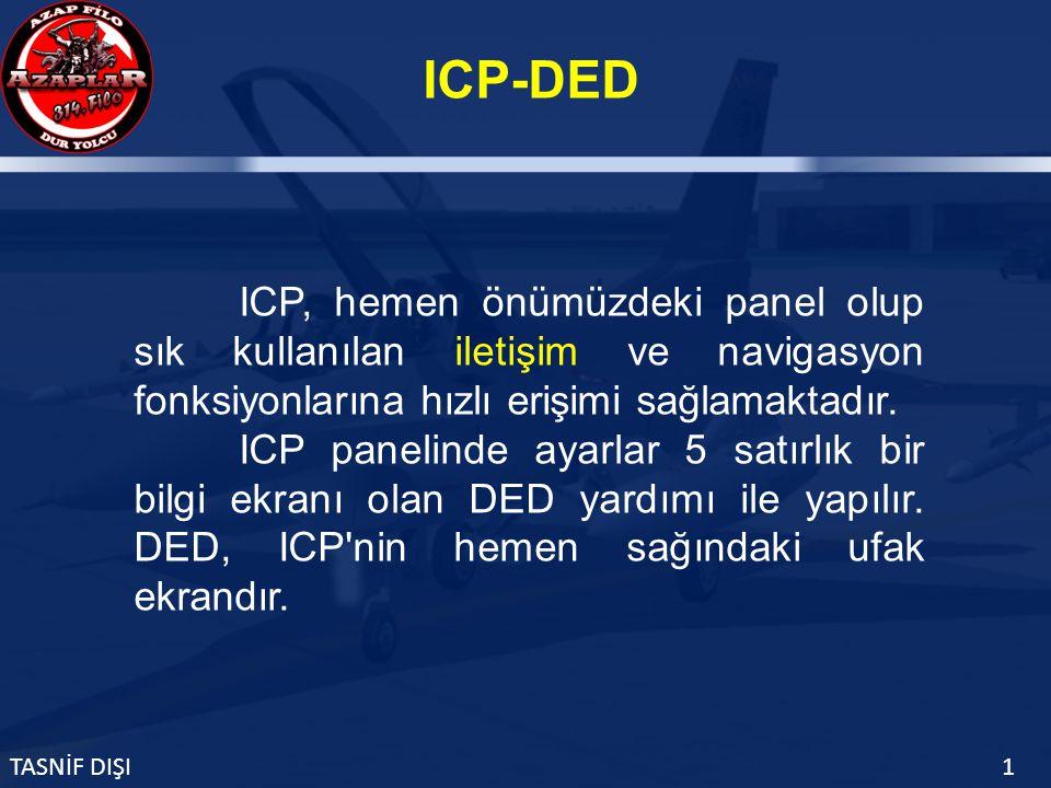 ICP-DED TASNİF DIŞI1 ICP, hemen önümüzdeki panel olup sık kullanılan iletişim ve navigasyon fonksiyonlarına hızlı erişimi sağlamaktadır.