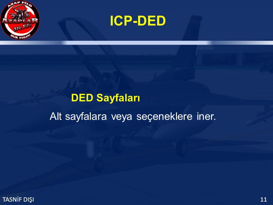 ICP-DED TASNİF DIŞI11 Alt sayfalara veya seçeneklere iner. DED Sayfaları