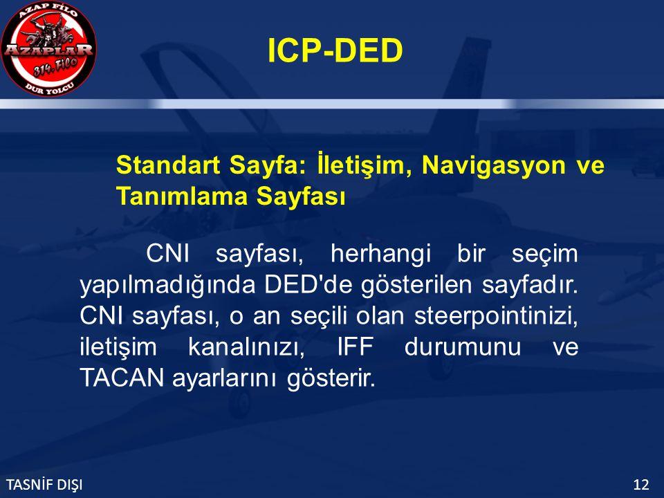 ICP-DED TASNİF DIŞI12 Standart Sayfa: İletişim, Navigasyon ve Tanımlama Sayfası CNI sayfası, herhangi bir seçim yapılmadığında DED de gösterilen sayfadır.