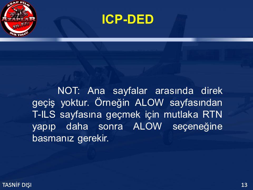 ICP-DED TASNİF DIŞI13 NOT: Ana sayfalar arasında direk geçiş yoktur.