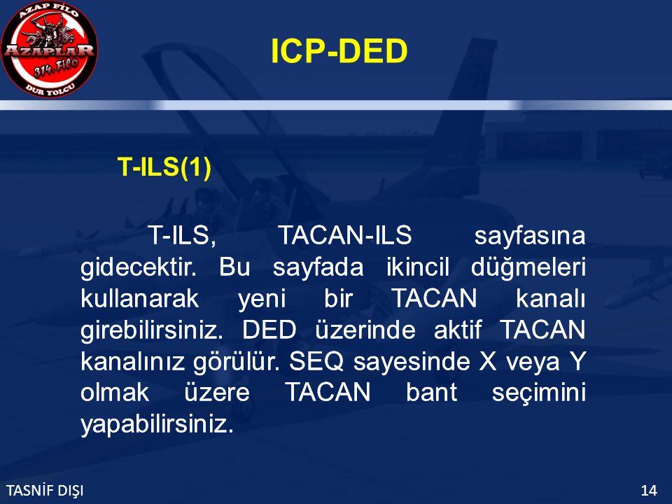 ICP-DED TASNİF DIŞI14 T-ILS(1) T-ILS, TACAN-ILS sayfasına gidecektir.