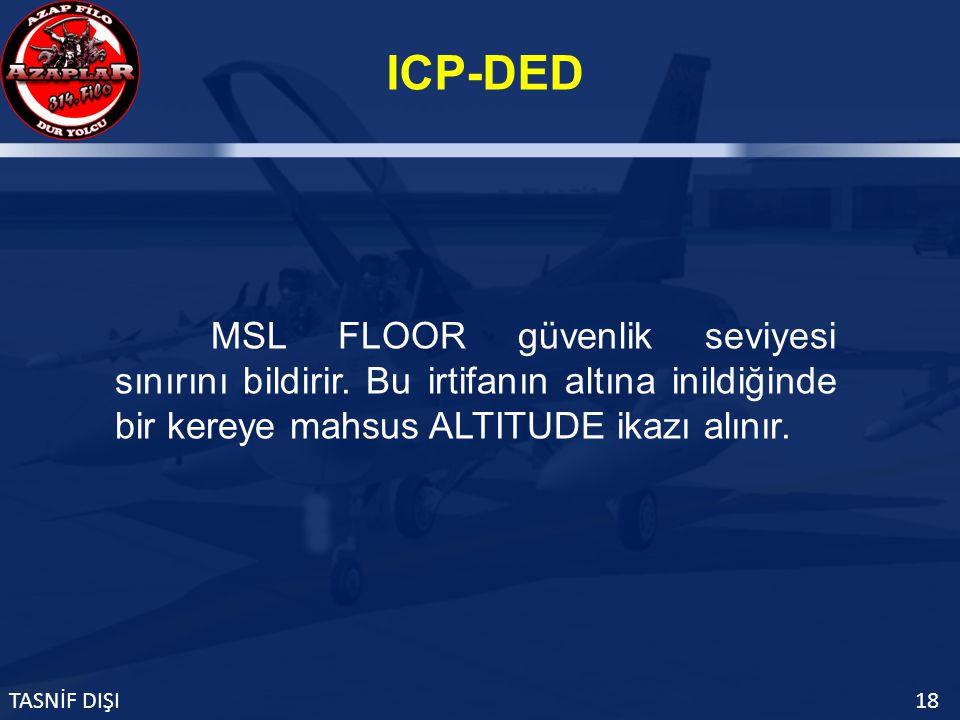 ICP-DED TASNİF DIŞI18 MSL FLOOR güvenlik seviyesi sınırını bildirir.