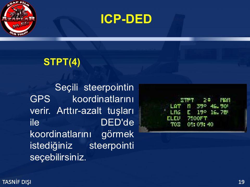 ICP-DED TASNİF DIŞI19 STPT(4) Seçili steerpointin GPS koordinatlarını verir.