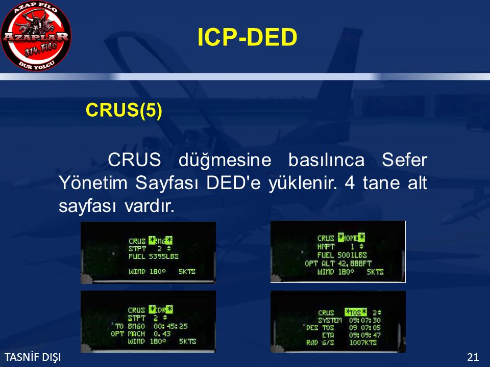 ICP-DED TASNİF DIŞI21 CRUS(5) CRUS düğmesine basılınca Sefer Yönetim Sayfası DED e yüklenir.