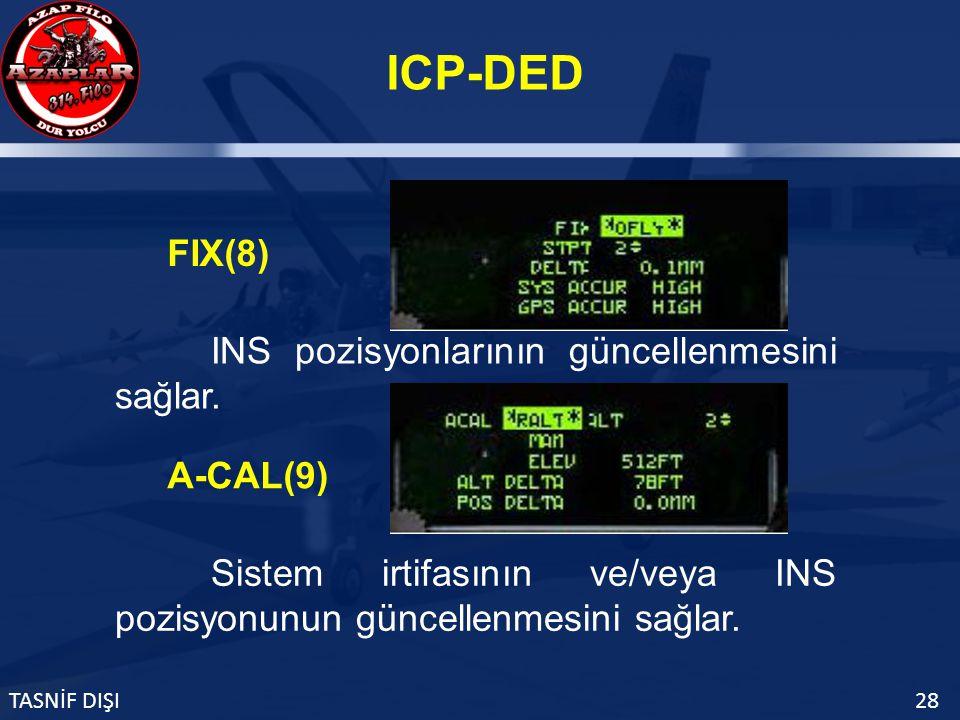 ICP-DED TASNİF DIŞI28 FIX(8) INS pozisyonlarının güncellenmesini sağlar.