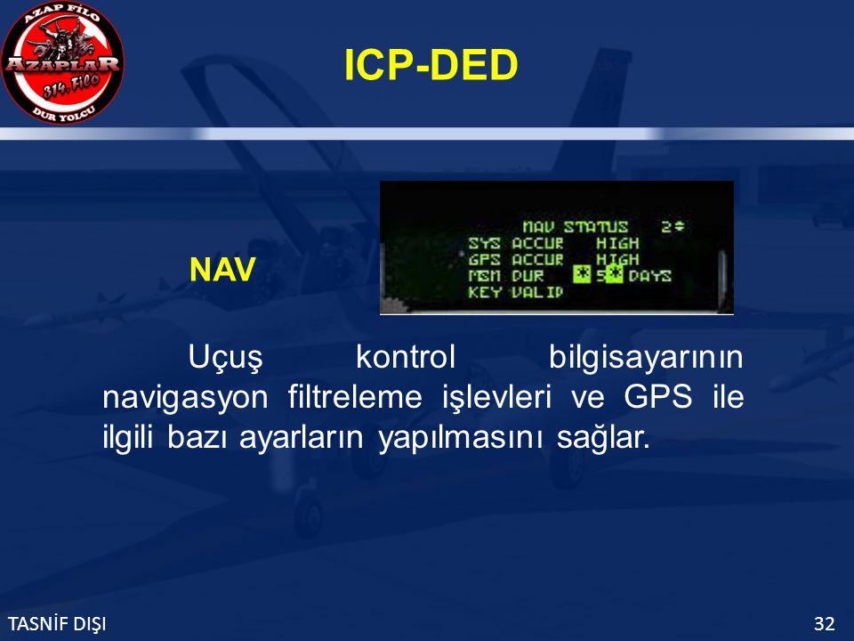 ICP-DED TASNİF DIŞI32 NAV Uçuş kontrol bilgisayarının navigasyon filtreleme işlevleri ve GPS ile ilgili bazı ayarların yapılmasını sağlar.