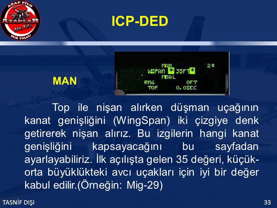 ICP-DED TASNİF DIŞI33 MAN Top ile nişan alırken düşman uçağının kanat genişliğini (WingSpan) iki çizgiye denk getirerek nişan alırız.