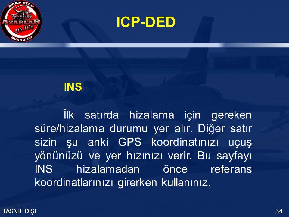 ICP-DED TASNİF DIŞI34 INS İlk satırda hizalama için gereken süre/hizalama durumu yer alır.