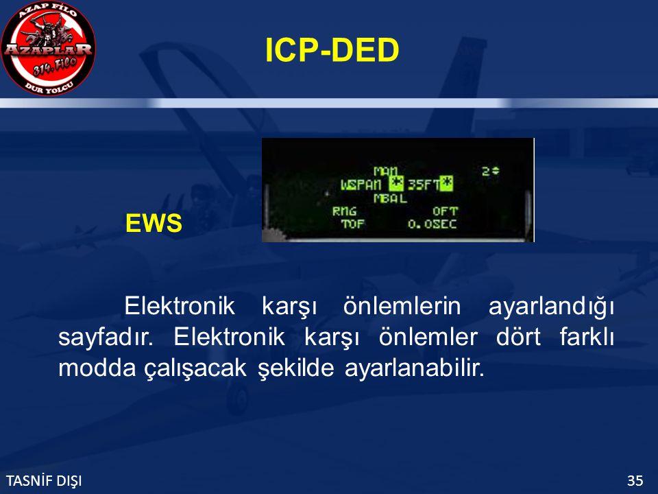 ICP-DED TASNİF DIŞI35 EWS Elektronik karşı önlemlerin ayarlandığı sayfadır.