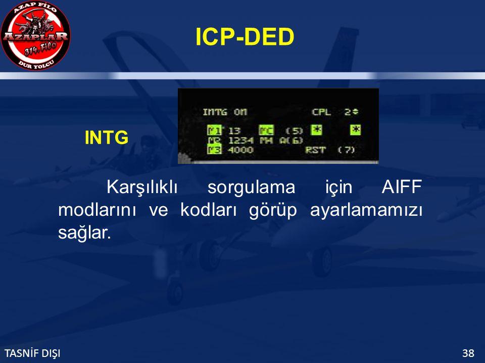 ICP-DED TASNİF DIŞI38 INTG Karşılıklı sorgulama için AIFF modlarını ve kodları görüp ayarlamamızı sağlar.