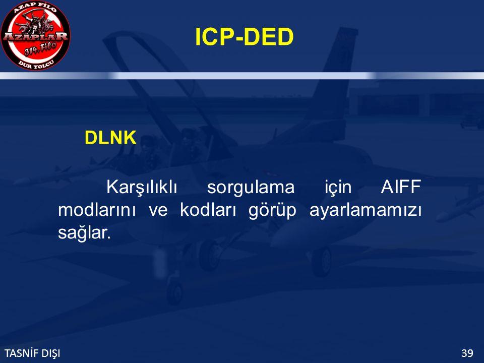 ICP-DED TASNİF DIŞI39 DLNK Karşılıklı sorgulama için AIFF modlarını ve kodları görüp ayarlamamızı sağlar.