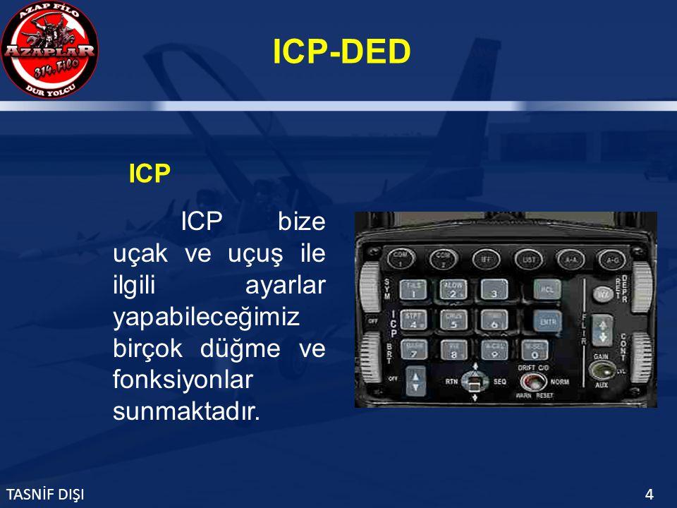ICP-DED TASNİF DIŞI4 ICP bize uçak ve uçuş ile ilgili ayarlar yapabileceğimiz birçok düğme ve fonksiyonlar sunmaktadır.
