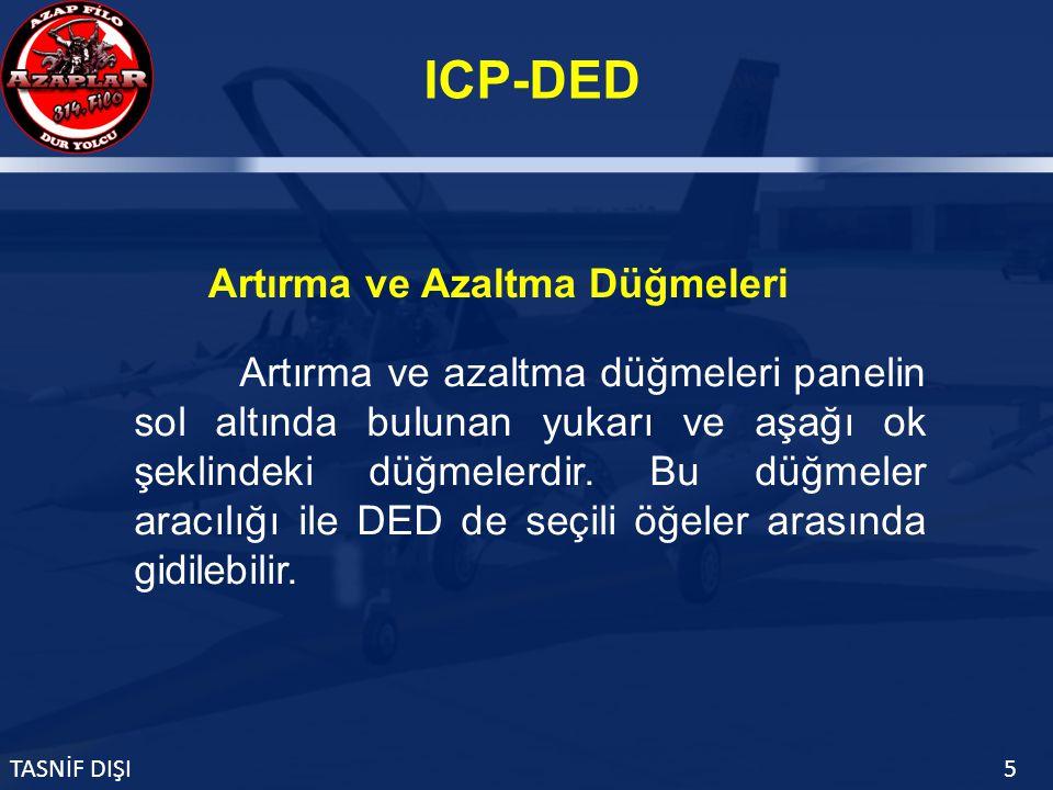 ICP-DED TASNİF DIŞI5 Artırma ve azaltma düğmeleri panelin sol altında bulunan yukarı ve aşağı ok şeklindeki düğmelerdir.