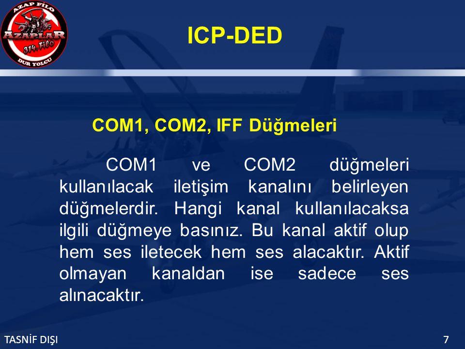 ICP-DED TASNİF DIŞI7 COM1 ve COM2 düğmeleri kullanılacak iletişim kanalını belirleyen düğmelerdir.