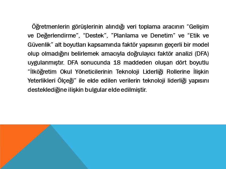 VERİLERİN TOPLANMASI VE ÇÖZÜMLENMESİ Araştırma verilerinin toplanması amacıyla araştırmacı tarafından www.liderlikanketi.com adlı internet sitesi oluşturulmuş ve ölçekler bu adres üzerinden yayınlamıştır.İlgili internet sitesi adresinin ve ölçeklere erişim şifresinin okullara ulaştırılması aşamasında MEB Eğitim Teknolojileri Genel Müdürlüğünden destek alınmıştır.Veriler,SPSS 13.0 istatistik paket programı kullanılarak; birinci ve ikinci alt amaca ilişkin çözümlemeler için frekans(f), yüzde (%) ve aritmetik ortalama ; üçüncü alt amaca ait verilerin çözümlenmesi için ise varyans analizi yapılmıştır.