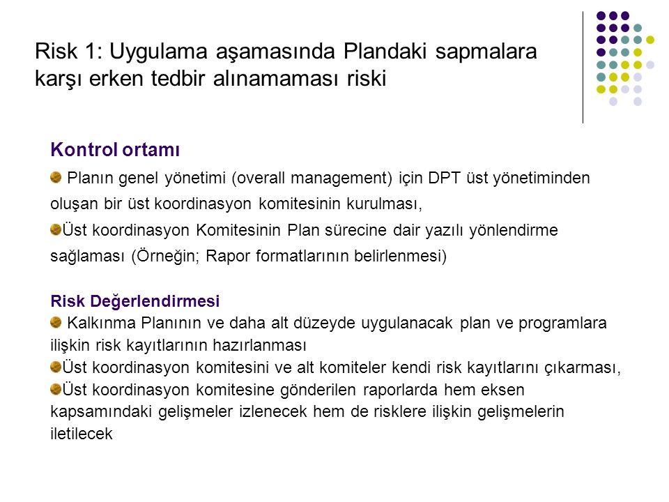 Risk 1: Uygulama aşamasında Plandaki sapmalara karşı erken tedbir alınamaması riski Kontrol ortamı Planın genel yönetimi (overall management) için DPT üst yönetiminden oluşan bir üst koordinasyon komitesinin kurulması, Üst koordinasyon Komitesinin Plan sürecine dair yazılı yönlendirme sağlaması (Örneğin; Rapor formatlarının belirlenmesi) Risk Değerlendirmesi Kalkınma Planının ve daha alt düzeyde uygulanacak plan ve programlara ilişkin risk kayıtlarının hazırlanması Üst koordinasyon komitesini ve alt komiteler kendi risk kayıtlarını çıkarması, Üst koordinasyon komitesine gönderilen raporlarda hem eksen kapsamındaki gelişmeler izlenecek hem de risklere ilişkin gelişmelerin iletilecek