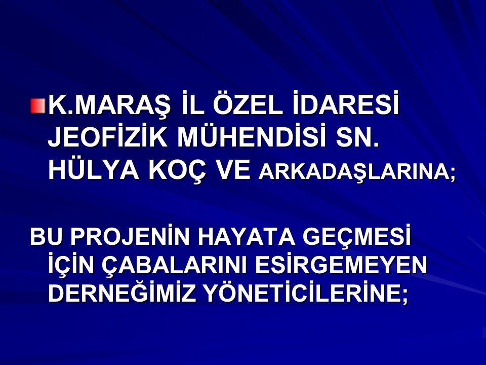 K.MARAŞ İL ÖZEL İDARESİ JEOFİZİK MÜHENDİSİ SN.