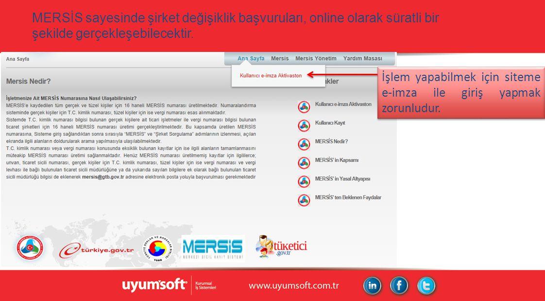 MERSİS sayesinde şirket değişiklik başvuruları, online olarak süratli bir şekilde gerçekleşebilecektir. İşlem yapabilmek için siteme e-imza ile giriş