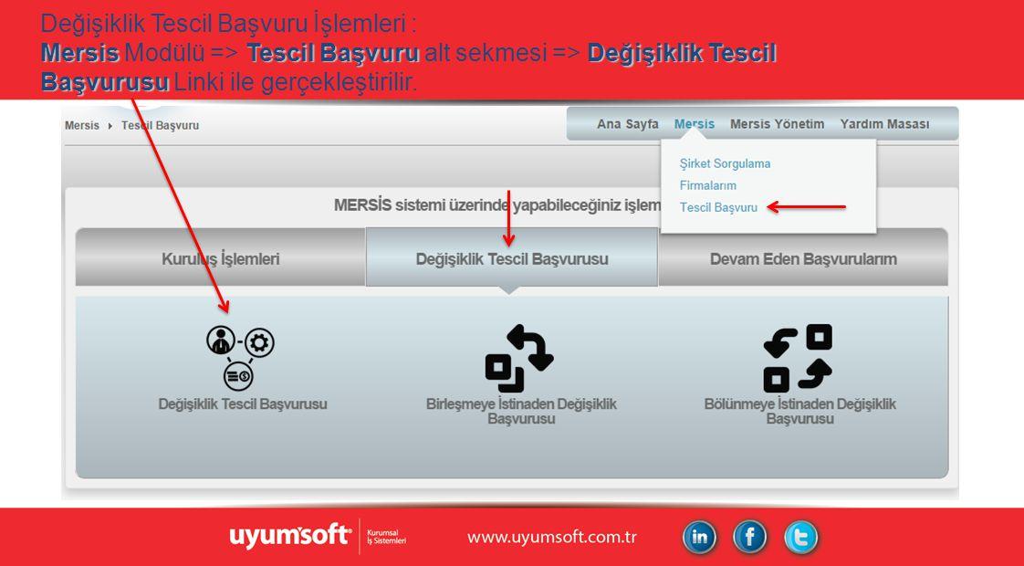 MersisTescil Başvuru Değişiklik Tescil Başvurusu Değişiklik Tescil Başvuru İşlemleri : Mersis Modülü => Tescil Başvuru alt sekmesi => Değişiklik Tesci