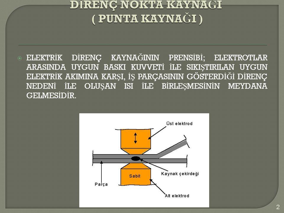 Üst ve alt elektrodun yaylanması veya kayması zayıf kaynak kalitesine neden olur.