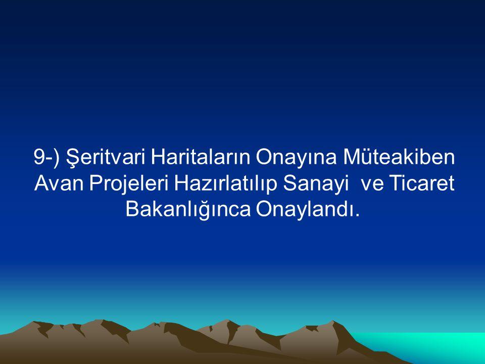 9-) Şeritvari Haritaların Onayına Müteakiben Avan Projeleri Hazırlatılıp Sanayi ve Ticaret Bakanlığınca Onaylandı.