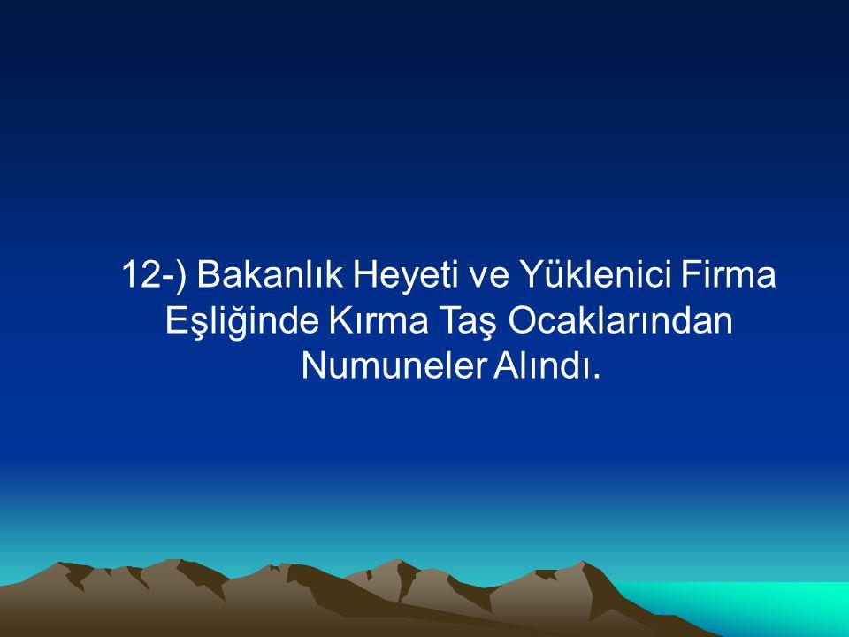 12-) Bakanlık Heyeti ve Yüklenici Firma Eşliğinde Kırma Taş Ocaklarından Numuneler Alındı.