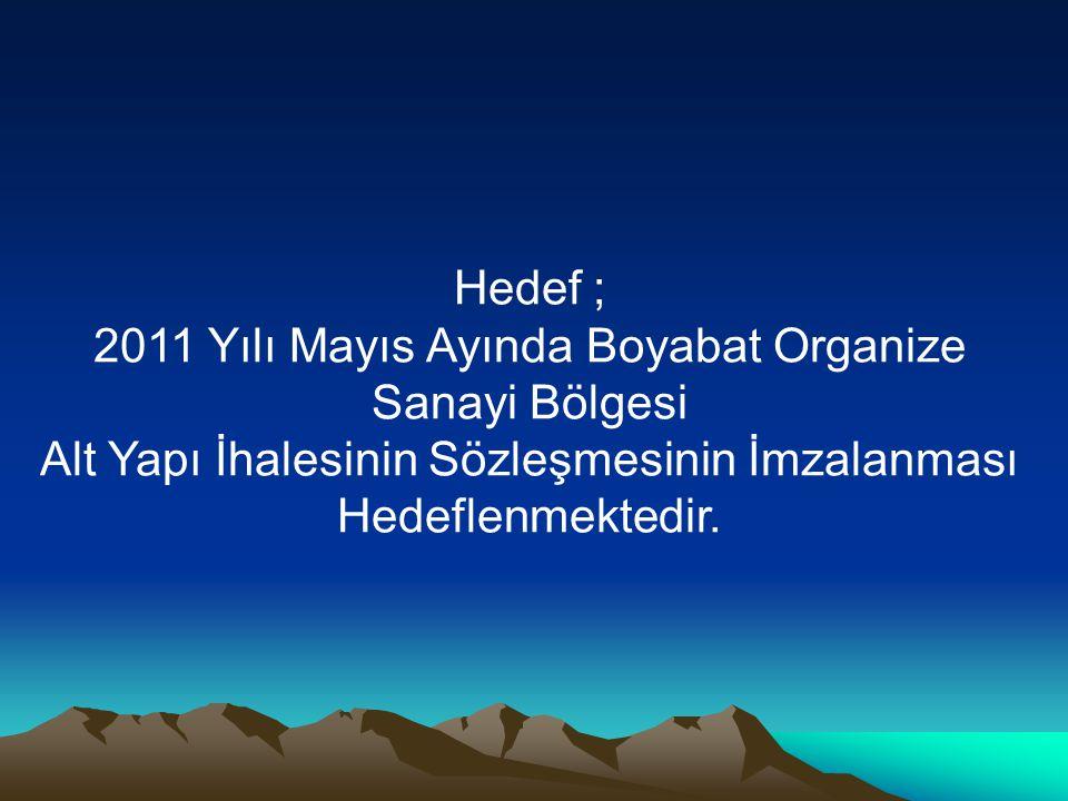 Hedef ; 2011 Yılı Mayıs Ayında Boyabat Organize Sanayi Bölgesi Alt Yapı İhalesinin Sözleşmesinin İmzalanması Hedeflenmektedir.