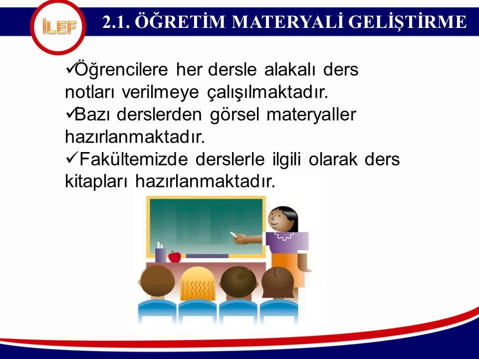 2.1. ÖĞRETİM MATERYALİ GELİŞTİRME Öğrencilere her dersle alakalı ders notları verilmeye çalışılmaktadır. Bazı derslerden görsel materyaller hazırlanma