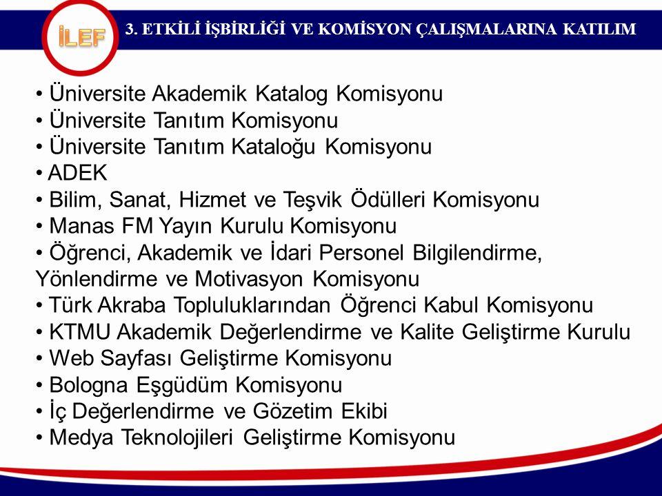 3. ETKİLİ İŞBİRLİĞİ VE KOMİSYON ÇALIŞMALARINA KATILIM Üniversite Akademik Katalog Komisyonu Üniversite Tanıtım Komisyonu Üniversite Tanıtım Kataloğu K
