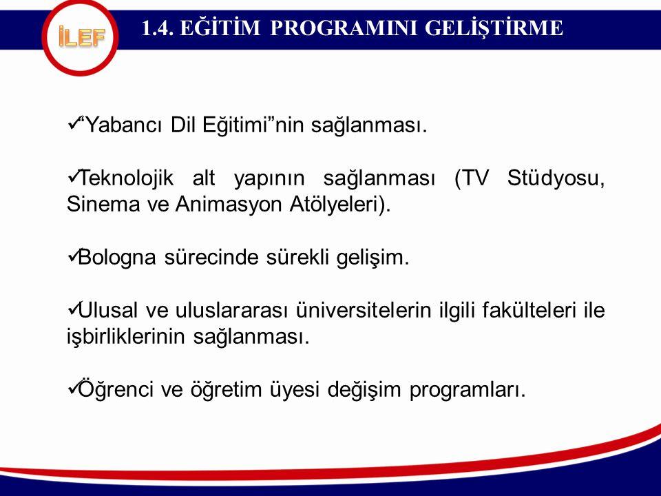 """1.4. EĞİTİM PROGRAMINI GELİŞTİRME """"Yabancı Dil Eğitimi""""nin sağlanması. Teknolojik alt yapının sağlanması (TV Stüdyosu, Sinema ve Animasyon Atölyeleri)"""