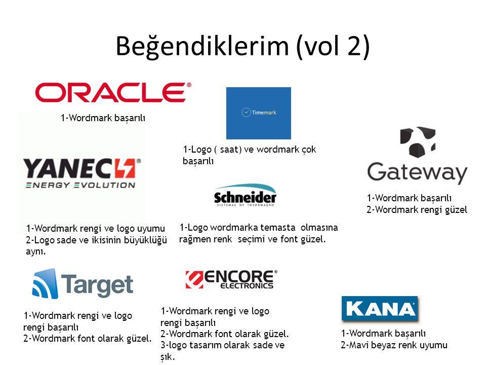 Beğendiklerim (vol 2) 1-Wordmark başarılı 1-Wordmark rengi ve logo uyumu 2-Logo sade ve ikisinin büyüklüğü aynı. 1-Wordmark rengi ve logo rengi başarı