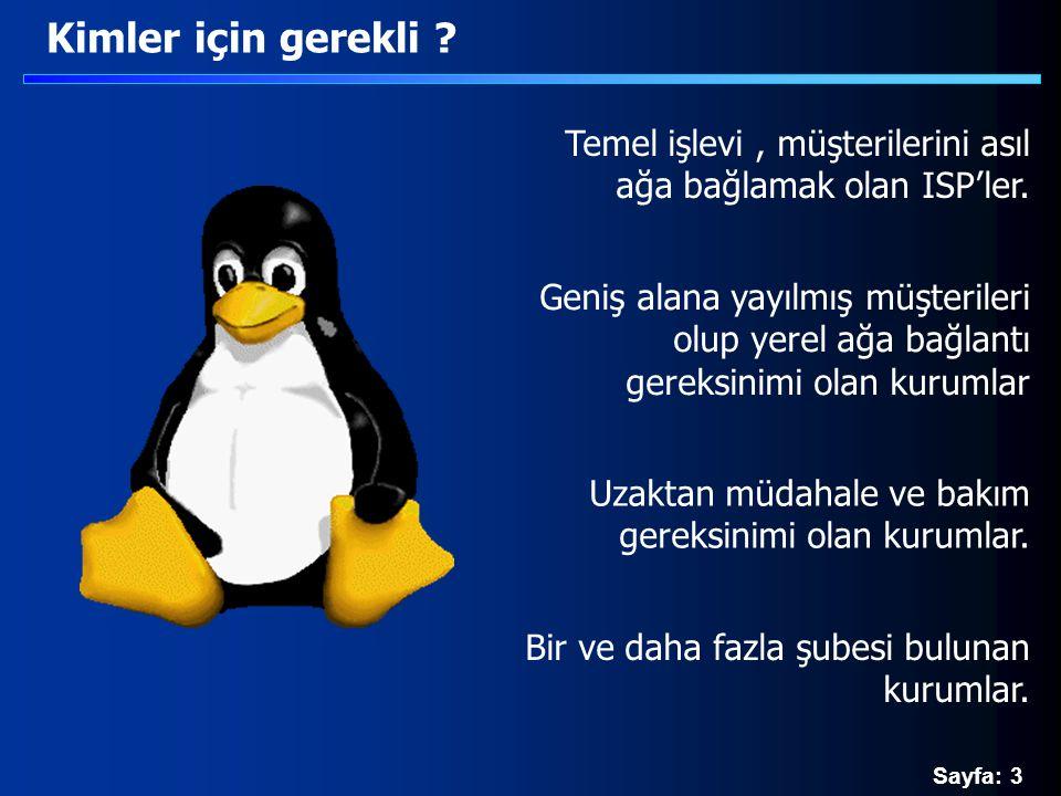Sayfa: 74 pppd - iki ağı bağlamak /etc/ppp/ip-up.local #!/bin/bash NET=`ipcalc --netmask $3   cut -d = -f 2` route add -net $3 netmask $NET gw $1 /etc/ppp/ip-down.local #!/bin/bash NET=`ipcalc --netmask $3   cut -d = -f 2` route del -net $3 netmask $NET gw $1