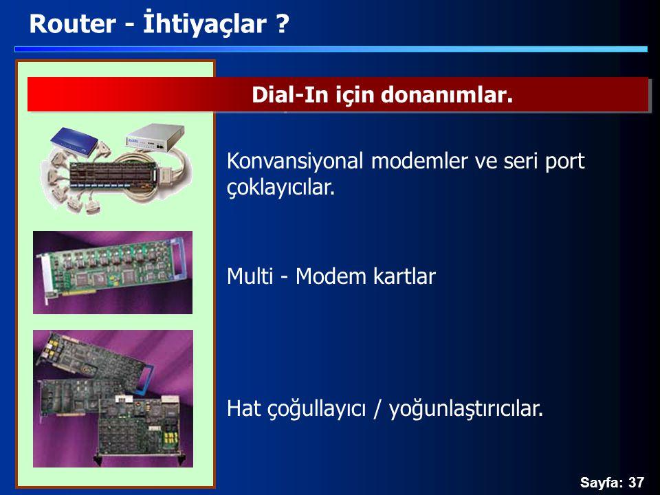 Sayfa: 37 Router - İhtiyaçlar ? Konvansiyonal modemler ve seri port çoklayıcılar. Multi - Modem kartlar Hat çoğullayıcı / yoğunlaştırıcılar. Dial-In i