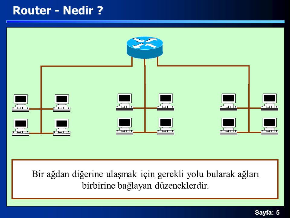 Sayfa: 16 Router - Prensipler 1 Muhasebe 2 Bilgi işlem 5 Pazarlama 3 Personel 4 Üretim 00001001..00001010 Muhasebe (9..10) 00010001..00010010 Bilgi işlem (17..18) 00010101..00010110 Personel (21..22) 00011001..00011010 Üretim (25..26) 00011101..00011110 Pazarlama (29..30) 00001101..00001110 Muhasebe (13..14)