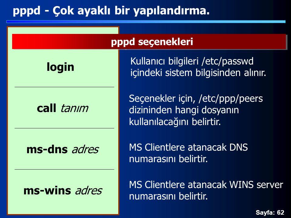 Sayfa: 62 pppd - Çok ayaklı bir yapılandırma. pppd seçenekleri Kullanıcı bilgileri /etc/passwd içindeki sistem bilgisinden alınır. login MS Clientlere
