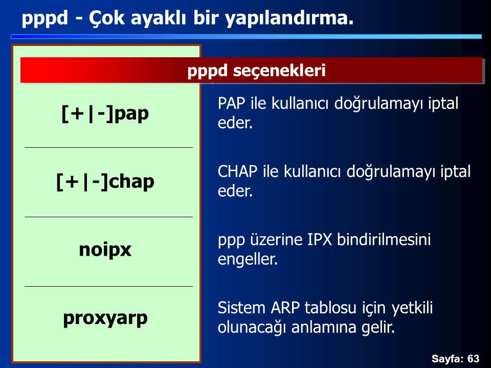 Sayfa: 63 pppd - Çok ayaklı bir yapılandırma. pppd seçenekleri PAP ile kullanıcı doğrulamayı iptal eder. [+|-]pap ppp üzerine IPX bindirilmesini engel