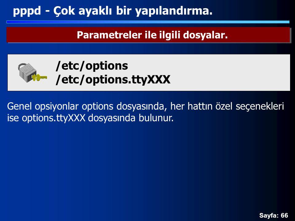 Sayfa: 66 Genel opsiyonlar options dosyasında, her hattın özel seçenekleri ise options.ttyXXX dosyasında bulunur. pppd - Çok ayaklı bir yapılandırma.