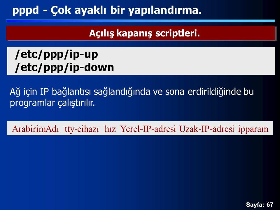 Sayfa: 67 Ağ için IP bağlantısı sağlandığında ve sona erdirildiğinde bu programlar çalıştırılır. pppd - Çok ayaklı bir yapılandırma. Açılış kapanış sc