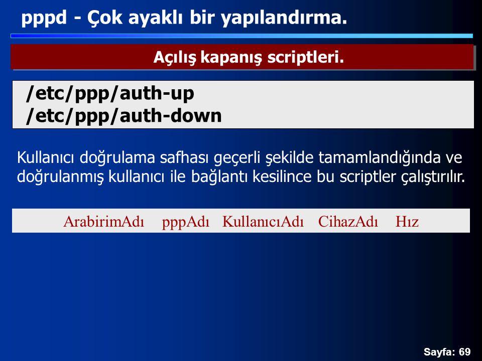 Sayfa: 69 Kullanıcı doğrulama safhası geçerli şekilde tamamlandığında ve doğrulanmış kullanıcı ile bağlantı kesilince bu scriptler çalıştırılır. pppd