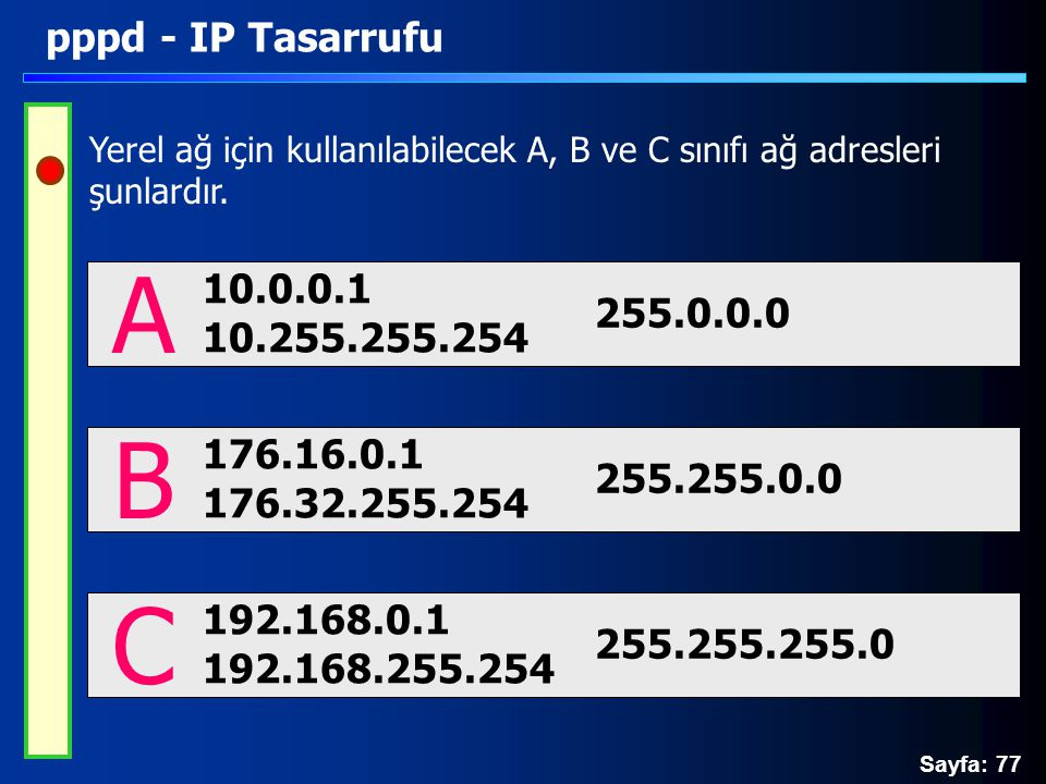 Sayfa: 77 pppd - IP Tasarrufu Yerel ağ için kullanılabilecek A, B ve C sınıfı ağ adresleri şunlardır. 10.0.0.1 10.255.255.254 A 255.0.0.0 176.16.0.1 1