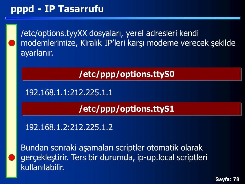 Sayfa: 78 pppd - IP Tasarrufu /etc/options.tyyXX dosyaları, yerel adresleri kendi modemlerimize, Kiralık IP'leri karşı modeme verecek şekilde ayarlanı