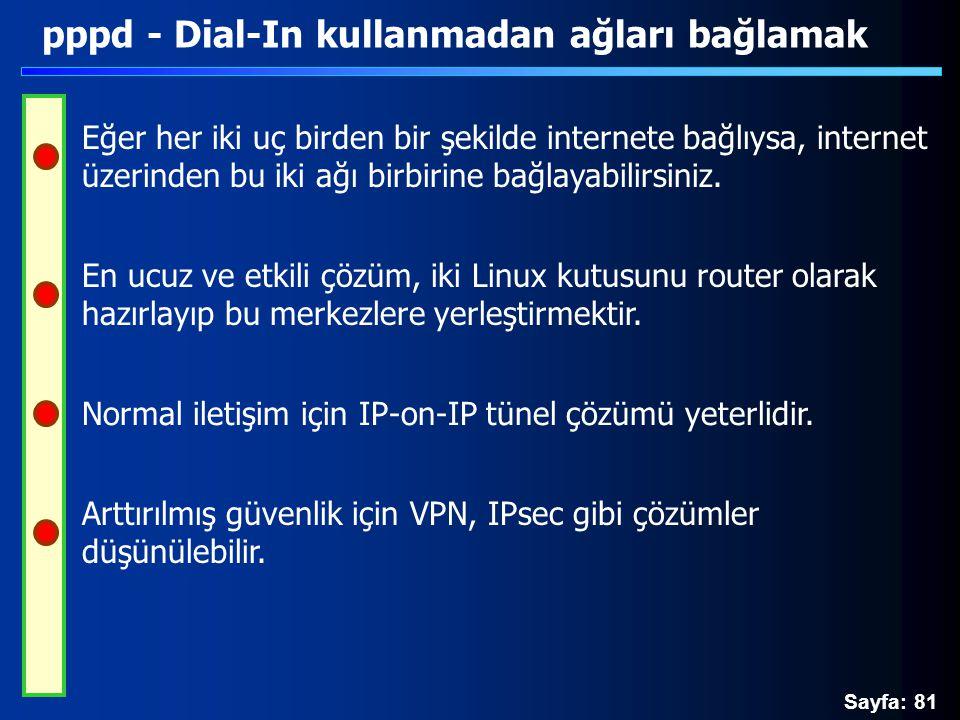 Sayfa: 81 pppd - Dial-In kullanmadan ağları bağlamak Eğer her iki uç birden bir şekilde internete bağlıysa, internet üzerinden bu iki ağı birbirine ba