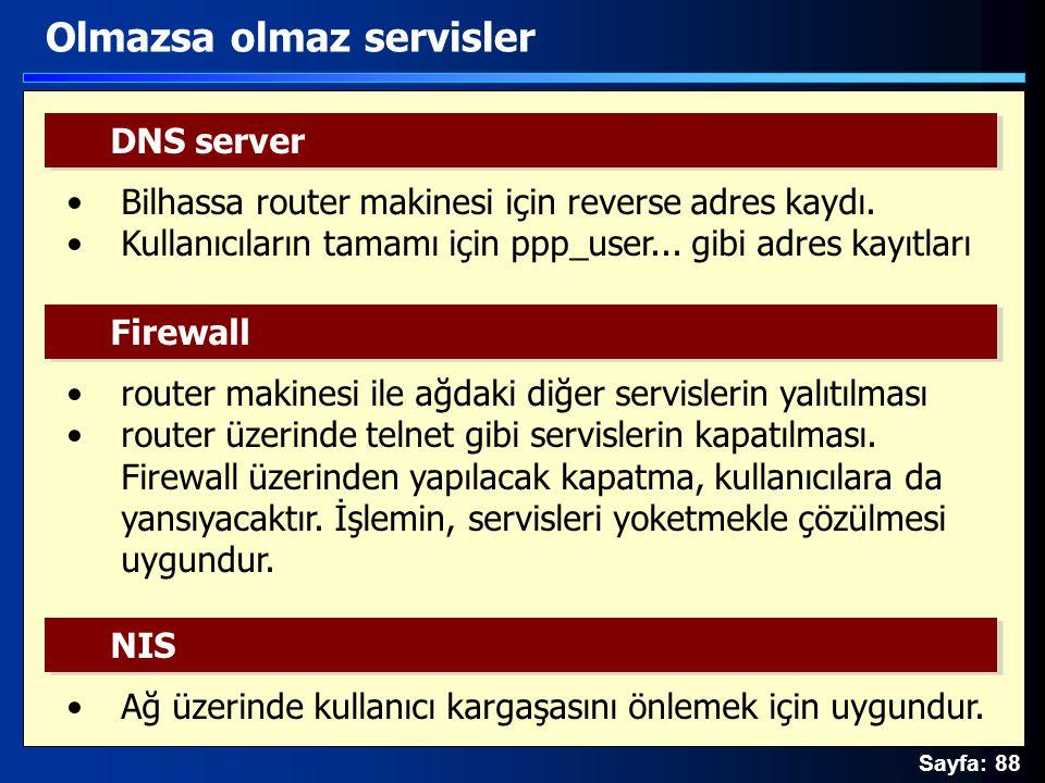 Sayfa: 88 Olmazsa olmaz servisler DNS server Firewall Bilhassa router makinesi için reverse adres kaydı. Kullanıcıların tamamı için ppp_user... gibi a