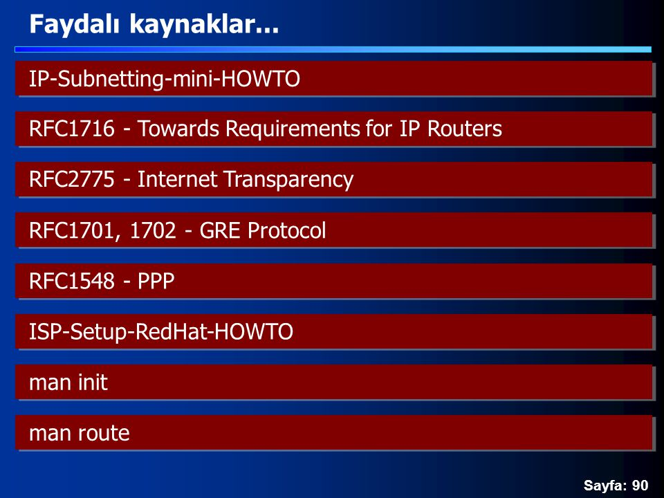 Sayfa: 90 Faydalı kaynaklar... IP-Subnetting-mini-HOWTO RFC1716 - Towards Requirements for IP Routers RFC2775 - Internet Transparency RFC1701, 1702 -