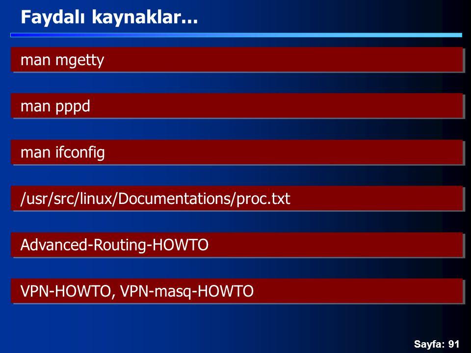 Sayfa: 91 Faydalı kaynaklar... man mgetty man pppd man ifconfig /usr/src/linux/Documentations/proc.txt Advanced-Routing-HOWTO VPN-HOWTO, VPN-masq-HOWT