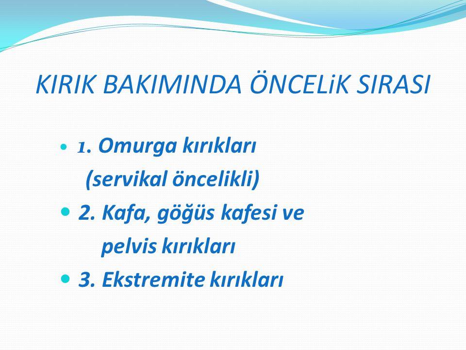 KIRIK BAKIMINDA ÖNCELiK SIRASI 1.Omurga kırıkları (servikal öncelikli) 2.