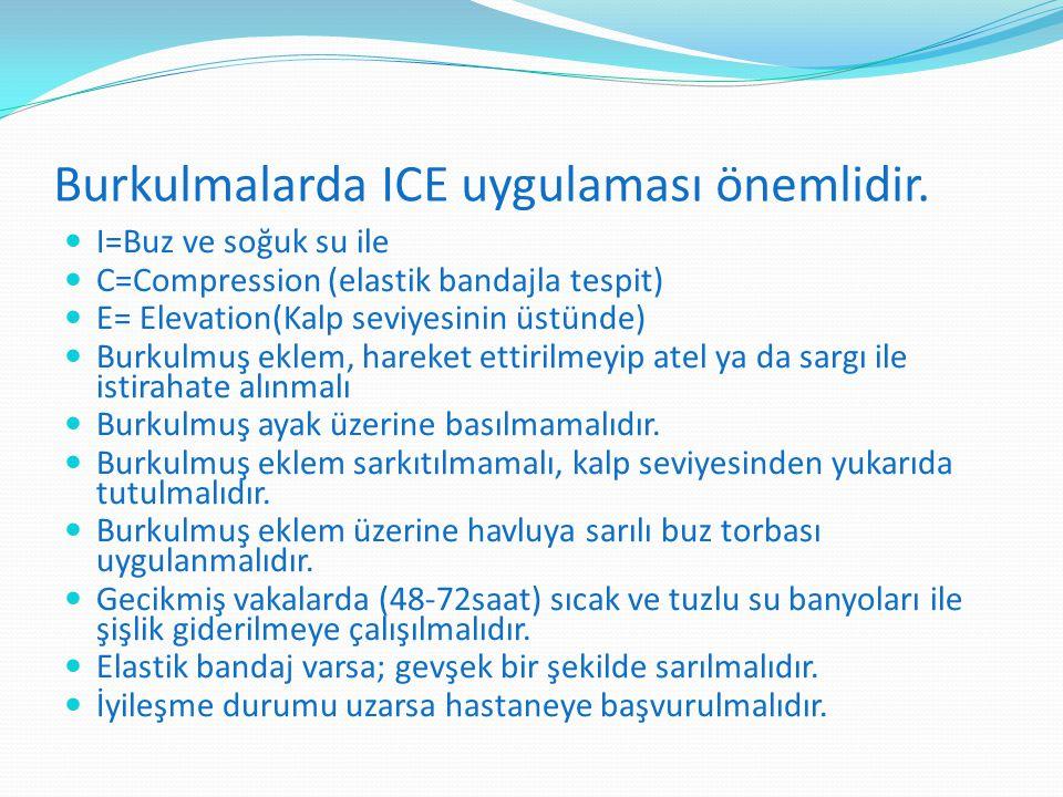 Burkulmalarda ICE uygulaması önemlidir. I=Buz ve soğuk su ile C=Compression (elastik bandajla tespit) E= Elevation(Kalp seviyesinin üstünde) Burkulmuş